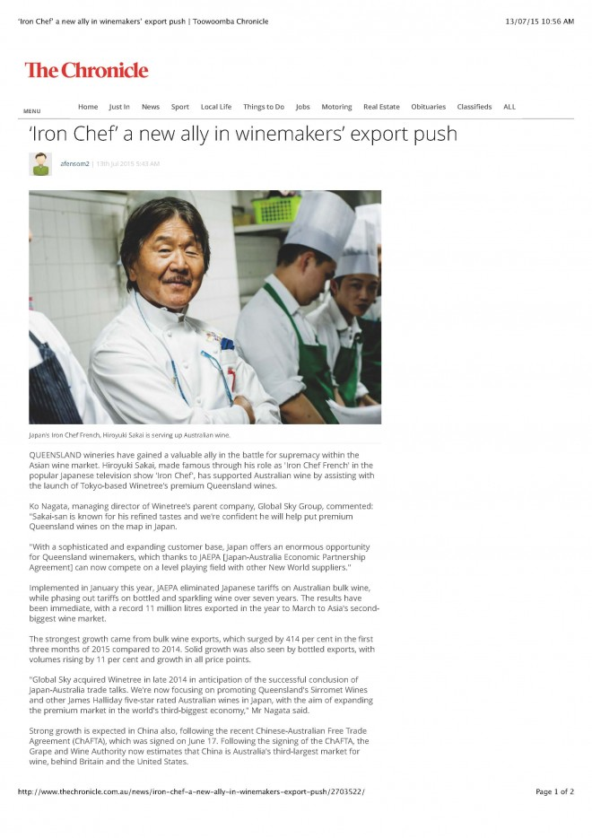 Toowoomba Chronicle_'Iron Chef' a new ally in winemakers' export push_13 Jul 15_ページ_1